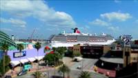 Time Lapse of Cruise Ship Leaving Water Port Authority