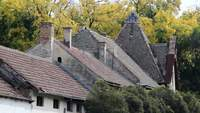 Old House Roof Stock Footage