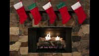 Christmas Stockings Hanging Over A Stone Fire Place