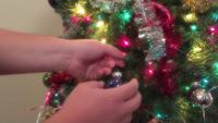 An Ornament Being Placed Onto a Branch of a Christmas Tree