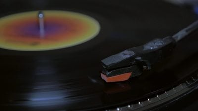 Close Up of Vinyl Needle Record Loop 4K