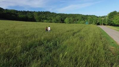Couple Walking Through Grass Field