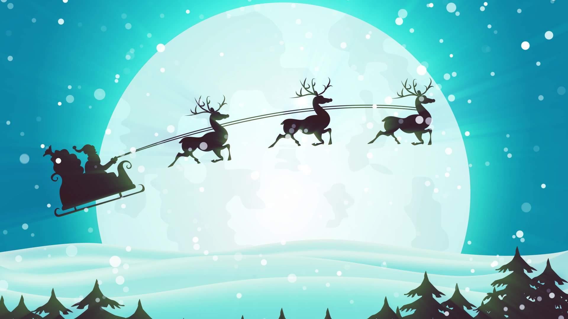 Christmas Santa Sleigh Motion Background 4K