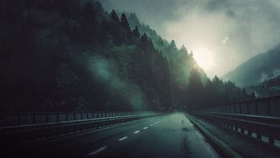 Rainy Road 4K Living Background