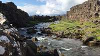 Beautiful Flowing Water Stream View in Iceland