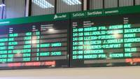 Destination in a train station screen