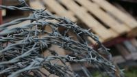 Barbed Wire with Wooden Pallet in Background