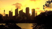 Sunset skyline in Sydney Australia