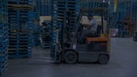 A forklift in a factory
