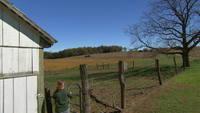 Blanco granero y tractor en el campo