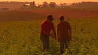 Father and son in farm field