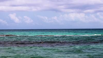 Ocean water splashes on coral reef