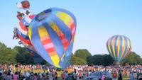 Hot air balloon show and crowd