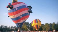 Ascending hot air balloon