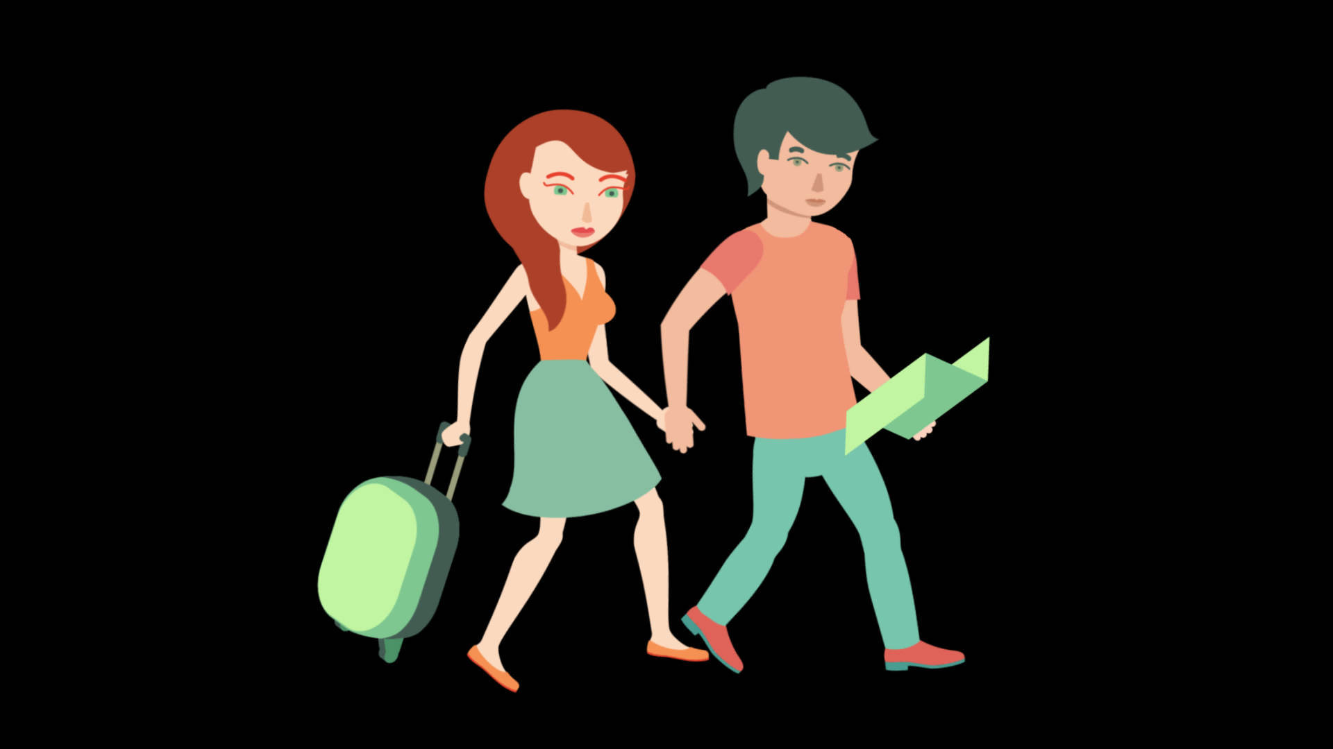 Animated Characters Couple Walking Alpha Transparent - Free