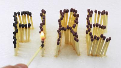 fire word formed with matches