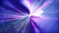 Thin spiral line spinning on purple background with flares