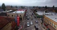 Aerial Drone Shot of Hawthorne Blvd Portland City Oregon in 4K