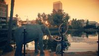 Tracking-shot gaat links van La Brea Tar Pits in 4K
