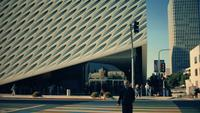 Static shot of crosswalk and outside of The Broad Art Gallery of Los Angeles in 4K