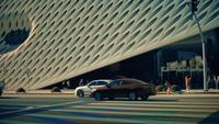 Panning shot going left of The Broad Art Gallery at Los Angeles in 4K