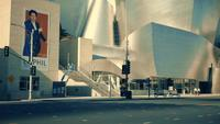 Panning shot going down and then right of the frontage of the Walt Disney Concert Hall at Los Angeles in 4K.