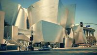 Panning shot going down and then up of the frontage of the Walt Disney Concert Hall at Los Angeles in 4K.