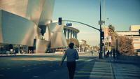 Panning shot going right from the frontage of the Walt Disney Concert Hall to a crosswalk at Los Angeles in 4K.