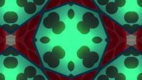 Cercles rouges et verts dans un kaléidoscope