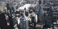 4K Aerial drone panning shot of Comscast Center and Liberty Place buildings on Philadelphia