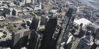 4K luchtfoto drone shot van BNY Mellon Center en Comscast Center-gebouwen op Philadelphia