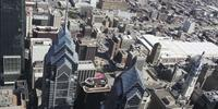 4K Aerial drone shot of Liberty Place buildings on Philadelphia