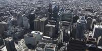 4K Aerial drone shot of Comcast Center building and the city on Philadelphia