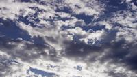 Time lapse of gray altocumulus clouds moving on blue sky in 4K