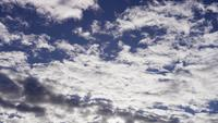 Time lapse of big group of altocumulus clouds moving on blue sky in 4K