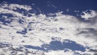 Time lapse of big group of altocumulus clouds moving from right to left on blue sky in 4K