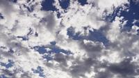Time lapse of altocumulus clouds moving slowly from right to left of the scene on bright blue sky in 4K