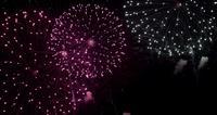 Efectos de fuegos artificiales de peonía, crisantemo y cruces en escena nocturna en 4K