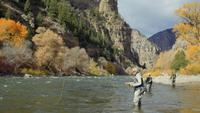 Group of men fly fishing on the Colorado River   Free Stock Footage