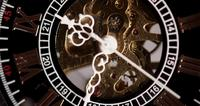 Extreme close-up van zakhorloge met blootgestelde machines werken van 9:30 tot 9:42 in 4K time-lapse