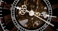 Extreme close-up van zakhorloge met blootgestelde machines werken van 9:10 tot 9:25 in 4K time-lapse