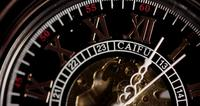 Extreme close up of pocket watch with exposed machinery working for thirteen minutes in 4K time lapse