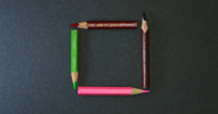Color Pencils Small Frames On Dark Background