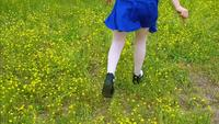Young child running through field of flowers with blue dress on | Free Stock Footage