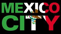Flag Of Mexico With Type Mask In Foreground. Mexico City.