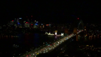 Harbor Bridge Traffic at Night 4K