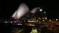 Tight Shot of Opera House at Night 4K