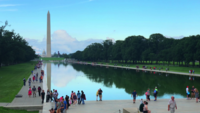Washington Monument, das Pool 4K reflektiert