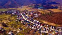 Village with two temples - tilt shift effect in 4K