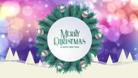 Merry Christmas greeting card animation colorful bokeh background trees snow